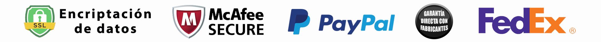 Contamos con encriptación de datos, análisis con McAfee secure, pago seguro con PayPal, entregas mediante FedEx y garantía con fabricantes
